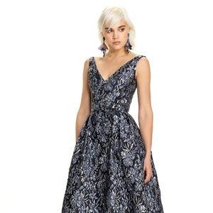 THEIA Metallic Brocade Ball Gown Blue/Silver  NWT